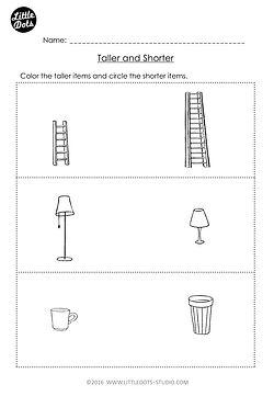 Free Pre-K measurement worksheet on taller and shorter.