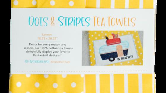 DOTS & STRIPES TEA TOWEL: LEMON SET OF 2