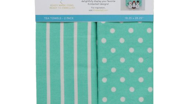 DOTS & STRIPES TEA TOWEL: Aqua SET OF 2
