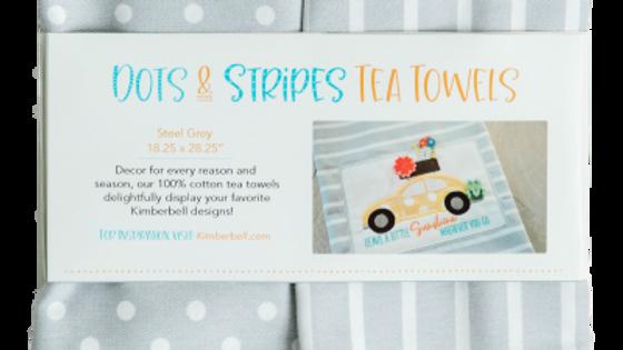 DOTS & STRIPES TEA TOWEL: STEEL GREY SET OF 2