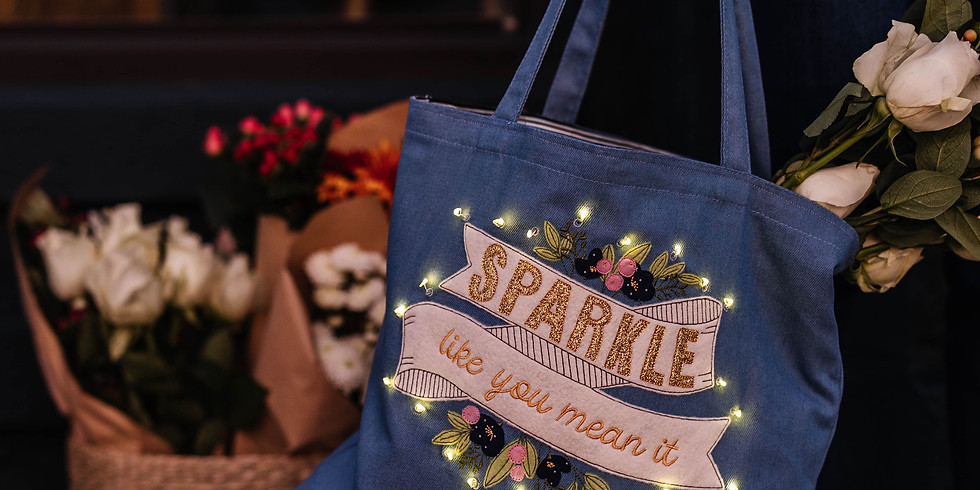 """Kimberbell Klub January 2021 """"Sparkle Like You Mean It"""" Chambray Tote"""