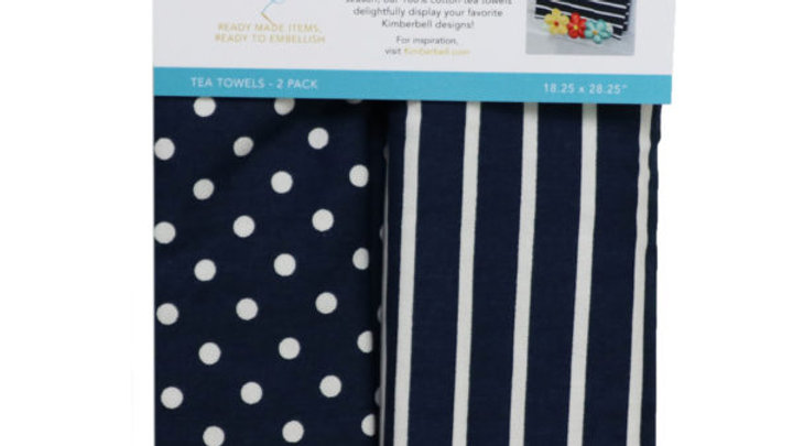 DOTS & STRIPES TEA TOWEL NAVY SET OF 2