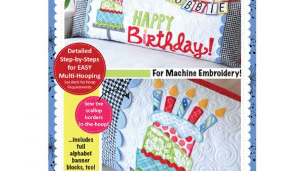 Happy birthday bench pillow Embroidery CD