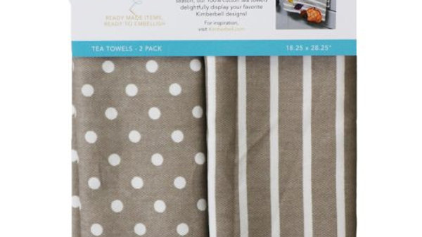 DOTS & STRIPES TEA TOWEL GREY SET OF 2