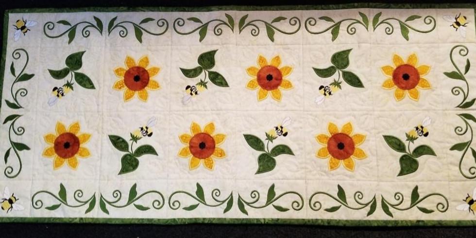 Amelie Scott designs Bee-utiful Sunflower table runner
