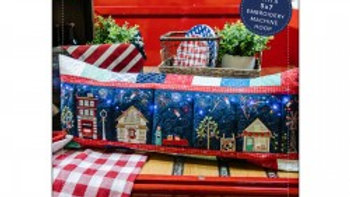 Main Street Celebration Bench Pillow Embroidery Version