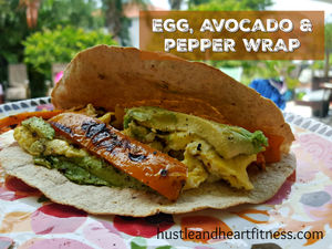SCRAMBLED EGGS SAUTEED PEPPERS & AVOCADO WRAP