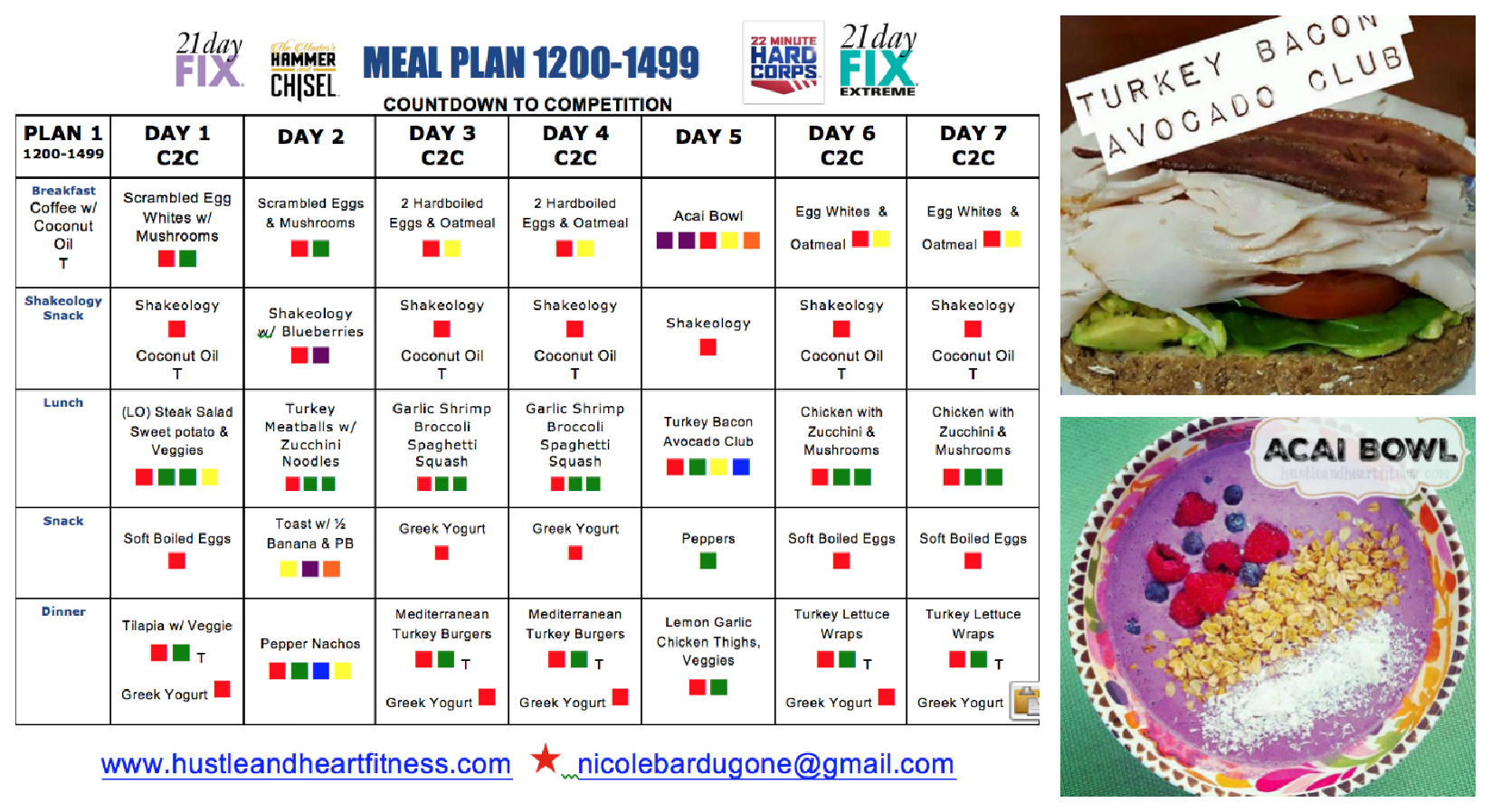 Meal Plan 21 Day Fix Extreme - Countdown to Competition ...