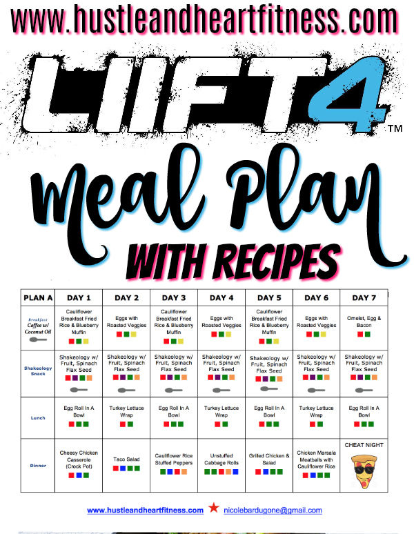 LIIFT 4 Week 1 Meal Plan with Recipes