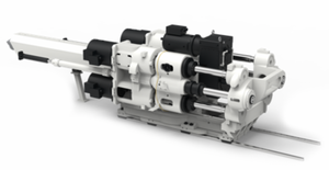 The new patented concept for large electric injection units: 4 spindles + 4 motors