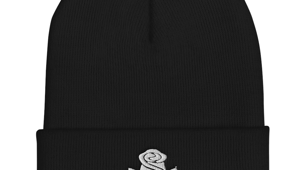 """MADE IN DENA"" Adidas-Inspired White Logo Beanie"
