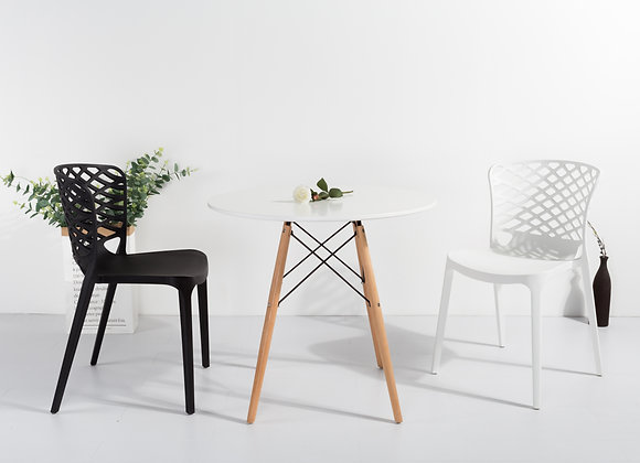 """שולחן עץ עגול קוטר 70ס""""מ"""