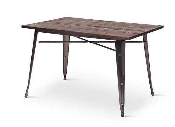 """שולחן גוף פלדה עם פלטת עץ 120*60ס""""מ"""
