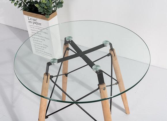 """שולחן זכוכית קוטר 60ס""""מ"""