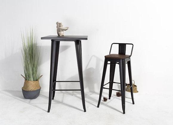 שולחן בר גוף ברזל+ פלטת עץ