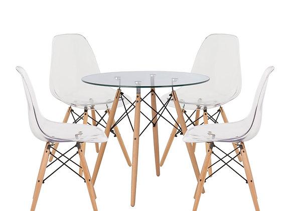 """סט שולחן עגול זכוכית קוטר 80ס""""מ+ 4 כסאות שקופים דגם לירון"""