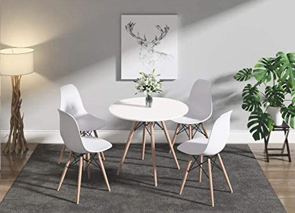 """סט שולחן עגול קוטר 80ס""""מ+ 4 כסאות דגם לירן"""