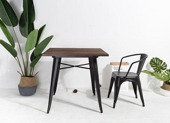 שולחן סועדים גוף ברזל+ פלטת עץ 80*80