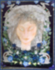 textile collage art course | vintage applique art | moon goddess art