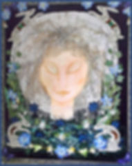 moon goddess art | Fabric art holiday | fabric textile art course