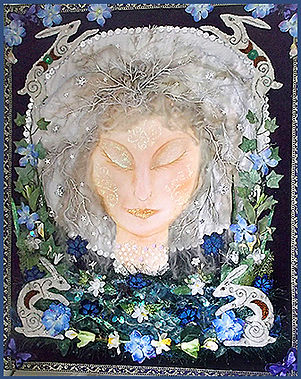 textile collage art course | vintage applique art | moon goddess art
