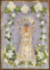 vintage applique wall hanging   wedding day memory art