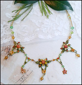 Autumn wedding jewellery | green and orange crystal necklace | handfasting necklace