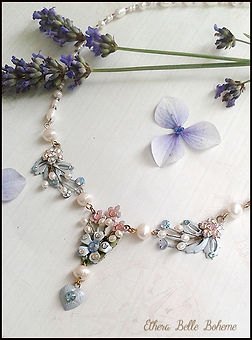 forget me not necklace | vintage pearl and crystal necklace