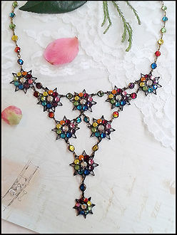 vintage rainbow crystal necklace | rainbows and stars necklace