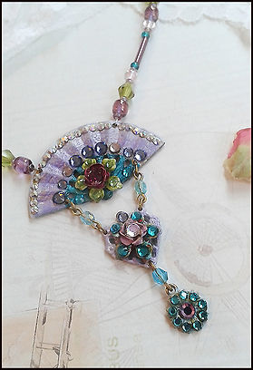 vintage enamelled costume jewellery | fan necklace | Heart and Art Andalucia | Jewellery making holiday course Spain
