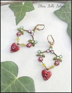 pink crystal heart drop earrings | retro vintage earrings pink