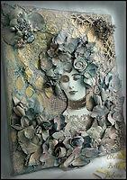 textile art collage face