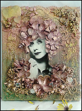 vintage portrait collage | Heart and Art Andalucia | mixed media pink collage | textile art holiday Spain