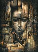mixed media dark art collage painting