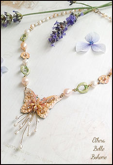 vintage butterfly necklace | pearl and crystal butterfly necklace