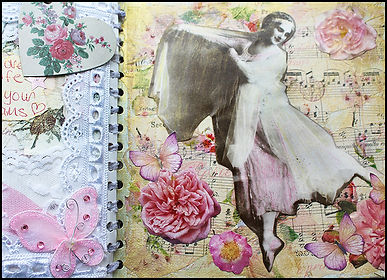 vintage scrapbook with lace | vintage ballet journal with lace | musical notes journal