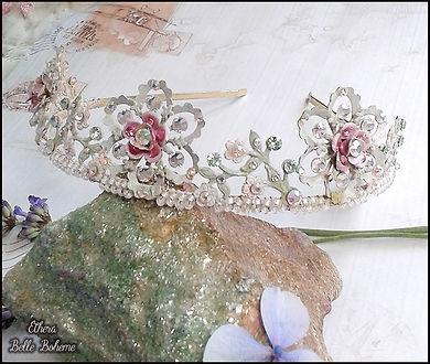 pink and white crystal tiara | Swarovski rose flower tiara