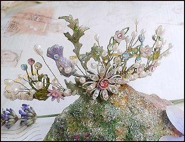 thistle tiara | crystal and pearl flower tiara | pink and purple tiara