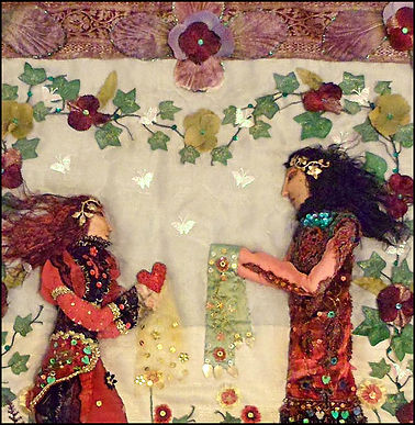 collage textile art | textile art wall hanging | Heart and Art Andalucia