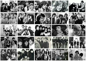 MONTAGE PHOTO OF POP STARS FROM THE 1960'S
