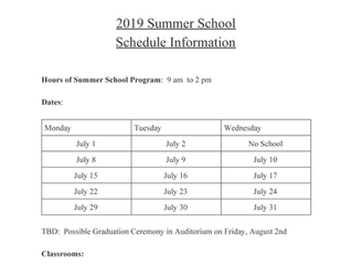 2019 Summer School Schedule Information