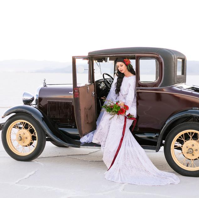 Utah Bride with Vintage Model A Ford