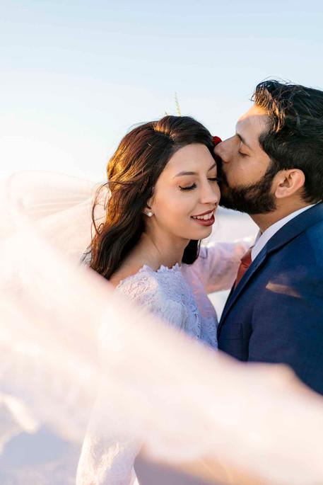 Bonneville Salt Flats Romantic Bride and Groom