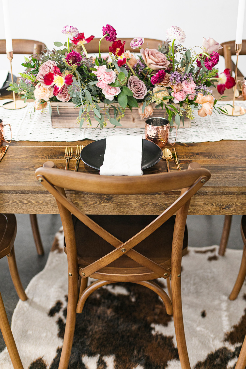 Rustic Montana Wedding Tablescape with Steer Hide
