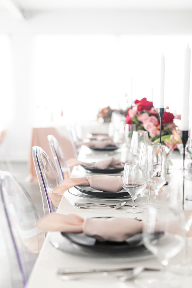 Ghost Chairs at Elegant Blush Themed Tablescape