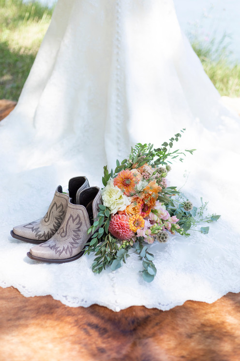 Bridal Gown Train with Boots and Bouqet