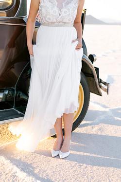 Bonneville Salt Flats Bride with Pleated Gown