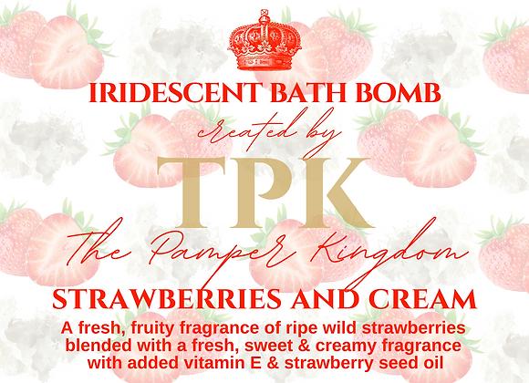 Strawberries and Cream Iridescent Bath Bomb