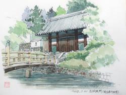 033_忍城城門(埼玉・行田市)-2015/水彩F2