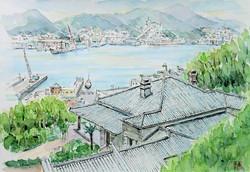 川合昭二-グラバー邸から長崎港を望むs